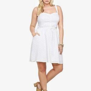 Torrid white eyelet sweetheart pocket sun dress 1